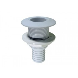 White Plastic thru-hull 15mm hose