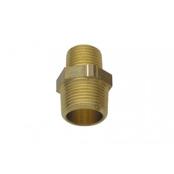 "Brass reducing double nipple male-male fitting 1/2"" x 3/8"""