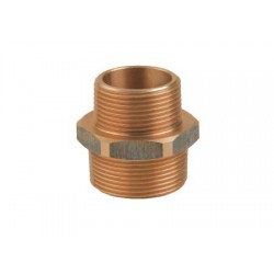 "Bronze double reducing nipple male-male Fitting 1/2"" x 3/8"""