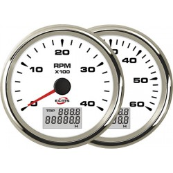 Tachometer and Hour Meter ECMS White and Chrome 12/24V 4000 85mm